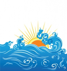 Wave and sun vector