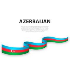 Waving ribbon or banner with flag azerbaijan vector