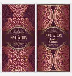 wedding invitation card with gold shiny eastern vector image