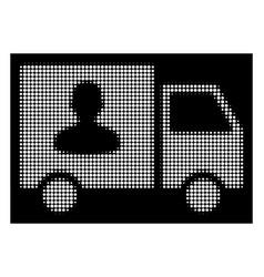 white halftone passenger transport van icon vector image