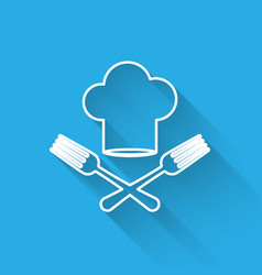 White line chef hat and crossed fork icon isolated vector