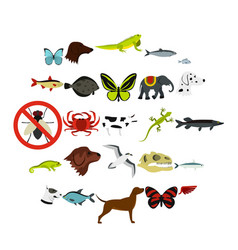 Wild animals icons set flat style vector