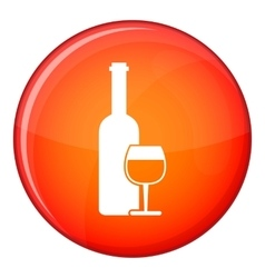 Wine bottle and glass icon flat style vector