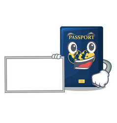 With board blue passport in the cartoon form vector