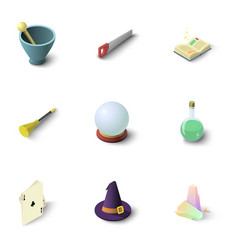 wizard stuff icons set isometric style vector image