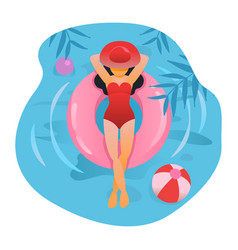 Woman sunbathing at beach or pool relaxing vector