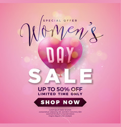 womens day sale design with air balloon heart on vector image