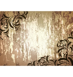 Wooden background with floral frame vector
