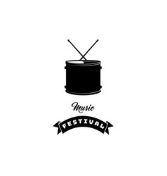 drum icon with ribbon music festival lettering vector image