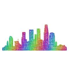 Los Angeles skyline - multicolor line art vector image vector image