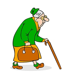 Old woman with cane and a bag vector image
