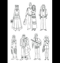 set of various hippie people in different clothes vector image