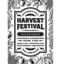Vintage Harvest Festival Poster Black And White vector image