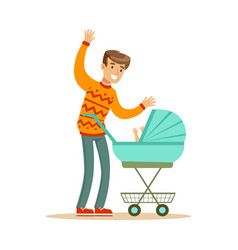 young father walking with his newborn baby in a vector image vector image