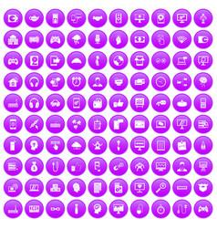 100 programmer icons set purple vector image