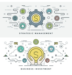 Flat line Investment and Business Strategy Concept vector image vector image
