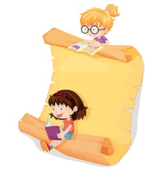 Girls and a paper sheet vector image vector image
