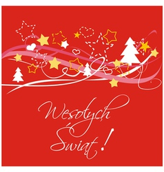 Polish christmas red card or invitation vector image