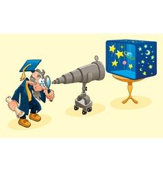 Scientist with telescope vector image