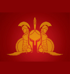 spartan warriors with sword and shield roman army vector image