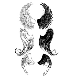 stylized angel wings vector image vector image