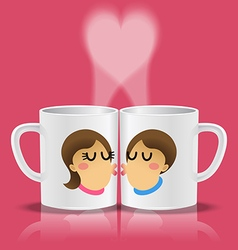 white cups with loving couple kissing vector image