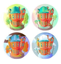 Bright volume icons of old houses in vector
