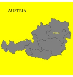 Contour map of Austria on a yellow vector image