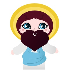 Cute Jesus Christ character isolated on white vector image vector image