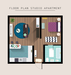 detailed apartment furniture overhead top view vector image vector image