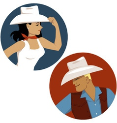 Cowgirl and cowboy round portrait badges vector image vector image