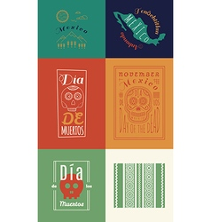 Mexican set Insignias Day of the Dead vector image