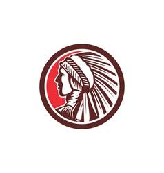 Native American Warrior Chief Circle vector image vector image