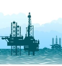 Oil rigs at sea-1 vector