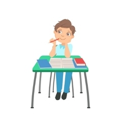 Schoolboy Sitting Behind The Desk In School vector image