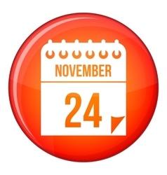 24 november calendar icon flat style vector