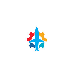 Abstract airplane travel fly with gear logo design vector