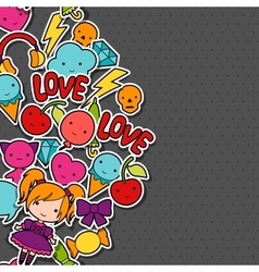 Abstract background with cute kawaii doodles vector