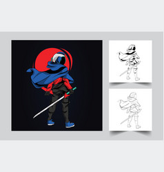 Astronaut sword mascot logo design vector