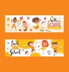 Back to school set banners kids children with vector