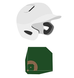 Baseball helmet and field vector image vector image