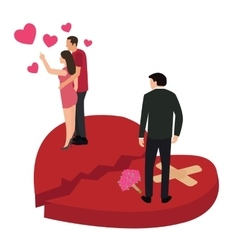 Broken heart woman with another man cheating vector