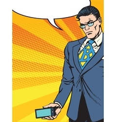 Businessman with smartphone gadget vector image