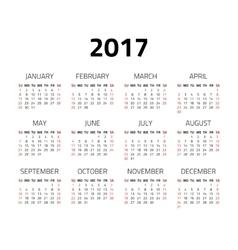 Calendar 2017 year vector image