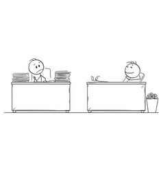 cartoon hard working office worker or vector image