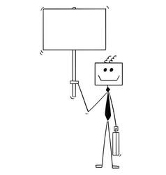 cartoon of robot or robotic businessman holding vector image