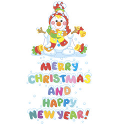 Christmas card with a funny snowman vector