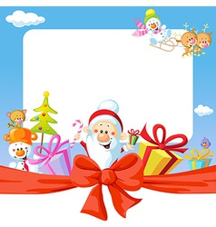 Christmas frame wit Santa Claus and gifts- funny vector