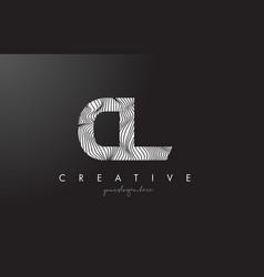 Cl c l letter logo with zebra lines texture vector