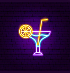 cocktail drink neon sign vector image